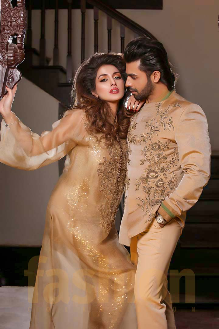 Fashion_Collection_Iman Aly and Farhan Saeed For Tich Button Golden Dress