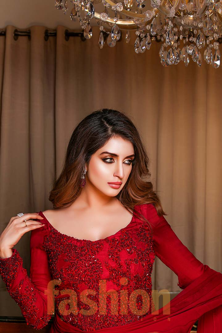 Fashion_Collection_Iman Aly and Farhan Saeed For Tich Button Iman Ali Hot Red Dress (1)