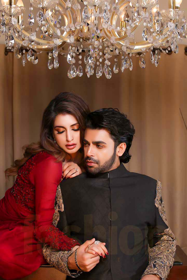 Fashion_Collection_Iman Aly and Farhan Saeed For Tich Button Red And Black Dress