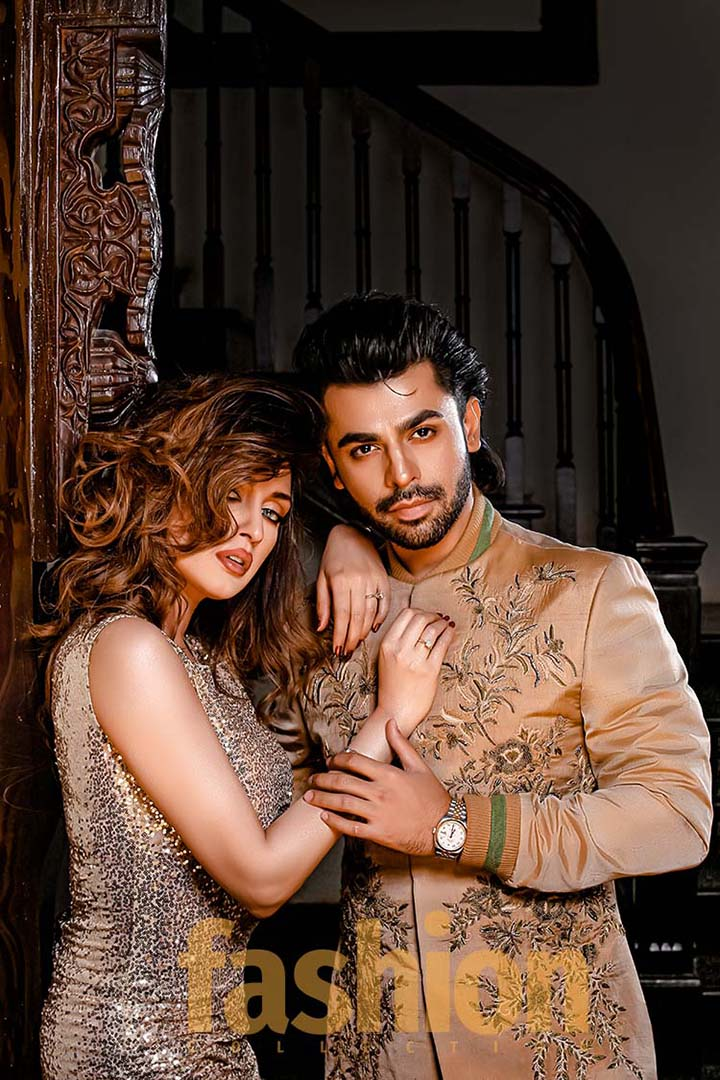 Fashion_Collection_Iman Aly and Farhan Saeed For_Tich_Button_Golden_Dress2