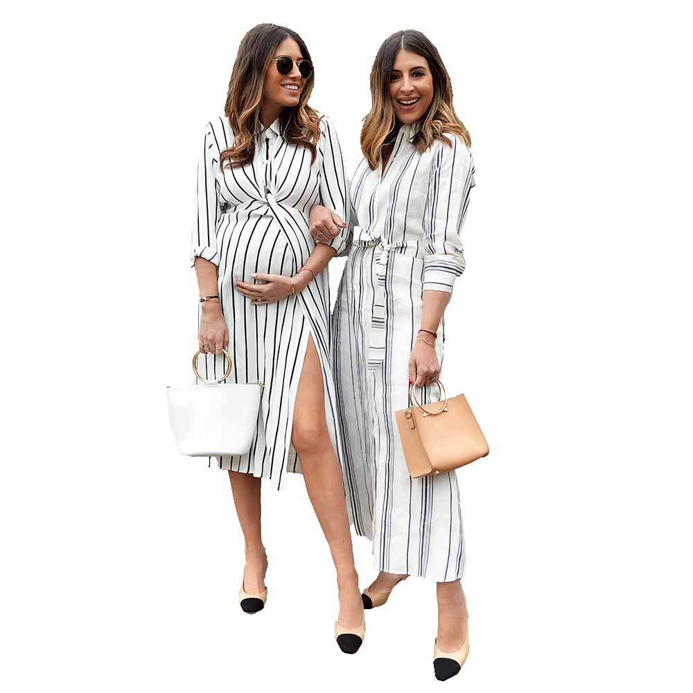 A stripe over-sized shirt or a long dress